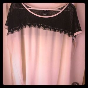 Torrid white and black lace blouse